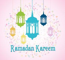 Ramadan Kareem with lantern - greeting banner