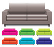 vector set of colorful sofas