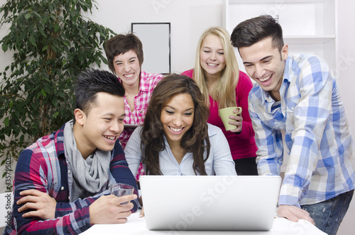 young diverse team of students or employees