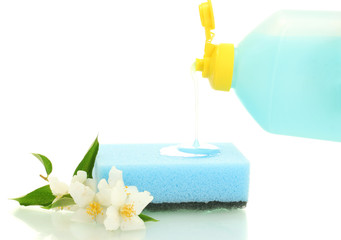 bright sponge and flowers  with dish washing liquid isolated