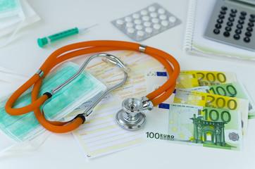 Medizin, Euro-Geldscheine und Taschenrechner