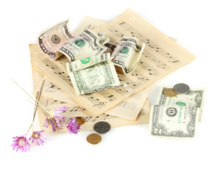 notes with money isolated on white