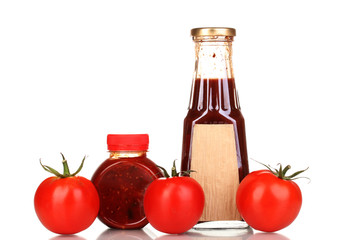 Tomato sauce in bottles isolated on white