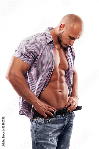male muscular model with open shirt