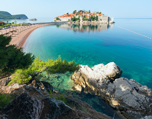 Sveti Stefan sea islet morning view (Montenegro,  Sveti Stefan)
