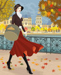 Woman walking along embankment in autumn city