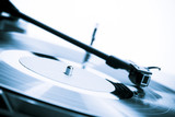 Vintage turntable close-up