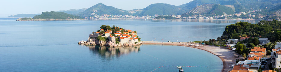 Sveti Stefan sea islet morning summer panorama (Montenegro).
