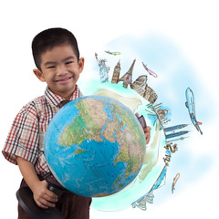 boy holding globe for dream travel around the world