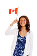 Young girl with Canada flag and tattoos