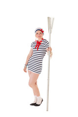 Ideas for hen party: girl with an oar