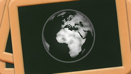 Loop-able sketch of earth rotates on a stack of chalkboards.