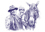old man (farmer), horse and child - hand drawings