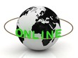 Green Online and ring of the inscription around the earth
