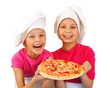 Two funny happy backers preparing pizza