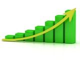 Business graph output growth of the green bars poster
