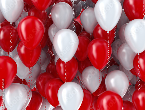 Red and white balloons background