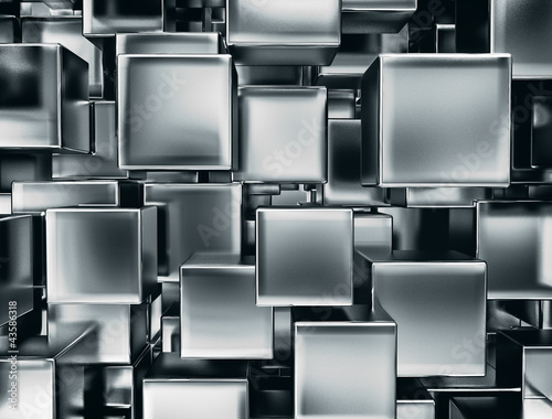 abstract image of metal cubes background - 43586318