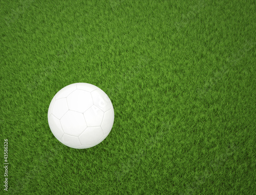 Soccer ball on green grass top view