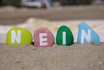 Nein, german denial word on colourful stones