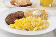 Sausage patties iwth scrambled eggs