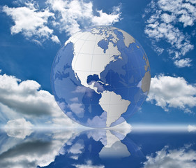 Globe on the blue sky.