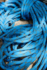 Close-up of blue rock climbing rope
