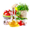 Health food. Oil, vegetables and herbs