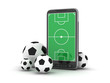 Mobile phone and soccer balls on white background