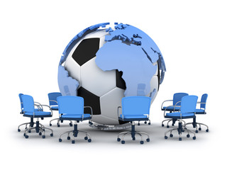 Abstract illustration - soccer ball, earth globe and office chai