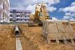 Leinwanddruck Bild - Digging drains to prevent flooding