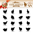 20 Silhouettes of Hens (16 Adult + 4 young in the Header)