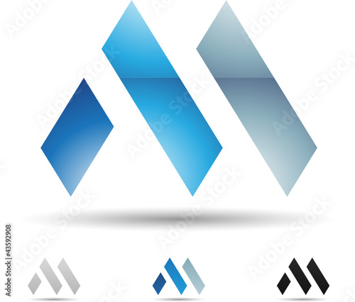 Vector illustration of abstract icons of letter M - Set 1