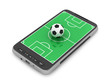 Football - soccer ball and mobile phone on white background