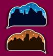Stickers speech bubbles - night city