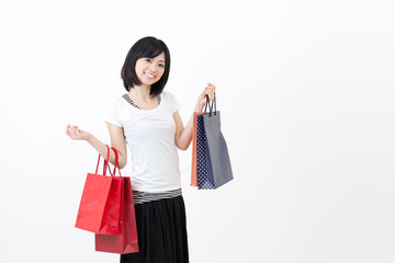 a young asian woman in shopping