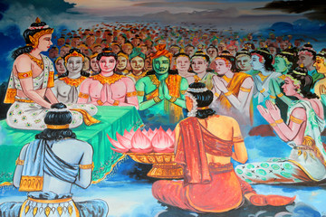 Buddha's biography painting on wall, Wat Kud Sui, Mahasarakham