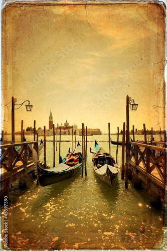 Zdjęcia na płótnie, fototapety na wymiar, obrazy na ścianę : Gondolas and Island of San Giorgio Maggiore - old card