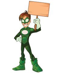Green Super Boy Hero Holding Board