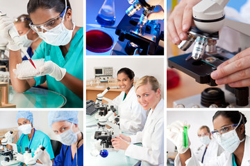 Female Research Laboratory Scientists with Microscopes