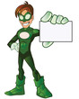 Green Super Boy Hero Showing Card