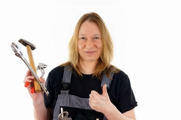 Handwerkerin mit Werkzeug