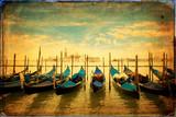 Gondolas and Island of San Giorgio Maggiore - old card - 43598775