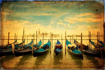 Gondolas and Island of San Giorgio Maggiore - old card