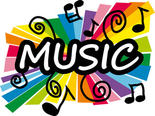 Stylized colorful illustration representing music