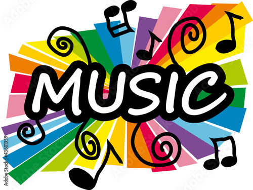 Stylized colorful illustration representing music - 43601359