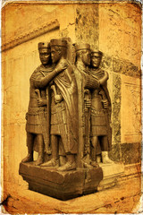 The group of tetrarchs in Venice - old card - old paper