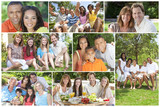 Multicultural Family Montage Outside Summer