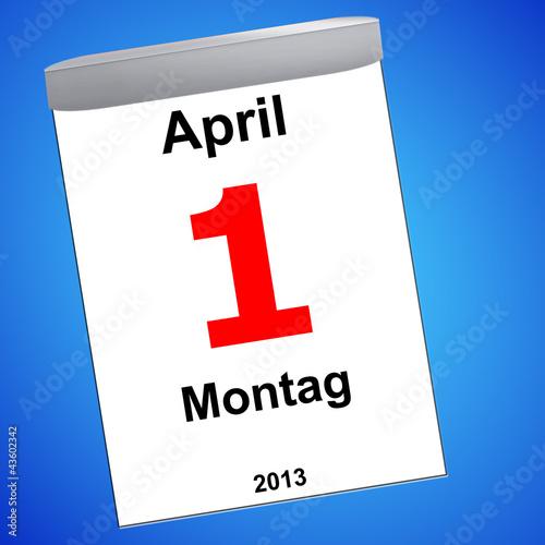 Leinwandbild Motiv Kalender auf blau - 01.04.2013