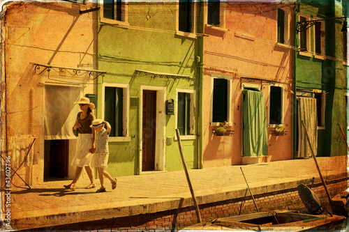 Burano, Venice - old paper - old card